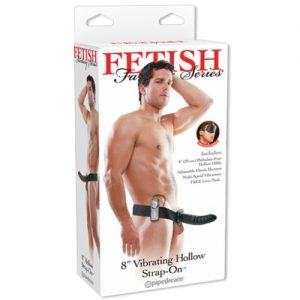 STRAP-ON OCO COM VIBRAÇÃO 8'' VIBRATING HOLLOW FETISH FANTASY SERIES PRETO