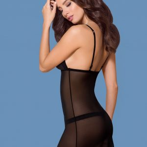 865-CHE-1 CHEMISE & THONG BLACK